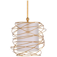 Cosmo 1 Light 18 inch Gold Leaf Pendant Ceiling Light, Small