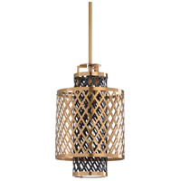 Sabine 1 Light 12 inch Antique Brass and Black Pendant Ceiling Light