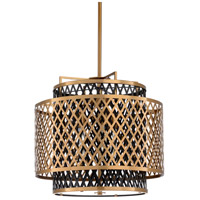 67136 Wildwood Wildwood 3 Light 22 inch Antique Brass/Black Chandelier Ceiling Light