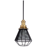 Adalia 1 Light 10 inch Antique Brass and Black Pendant Ceiling Light