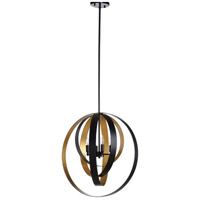 67167 Wildwood Wildwood 4 Light 24 inch Black and Antique Gold Leaf Chandelier Ceiling Light