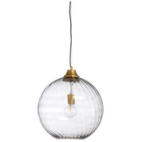 Symantec 1 Light 16 inch Smoked and Antique Brass Pendant Ceiling Light