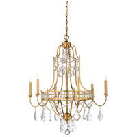 Buckhead 6 Light 30 inch Antique Gold Leaf and Clear Chandelier Ceiling Light, Small
