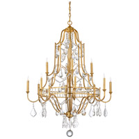 Buckhead 12 Light 35 inch Antique Gold Leaf and Clear Chandelier Ceiling Light, Large