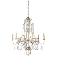 Buckhead 6 Light 30 inch Antique Silver Leaf and Clear Chandelier Ceiling Light, Small