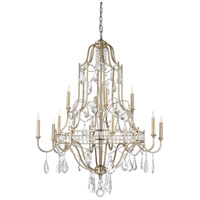 Buckhead 12 Light 35 inch Antique Silver Leaf and Clear Chandelier Ceiling Light, Large