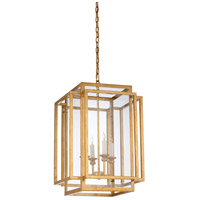 Amherst 4 Light 17 inch Antique Gold Leaf and Clear Chandelier Ceiling Light