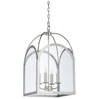 Revere 4 Light 14 inch Polished Nickel and Clear Chandelier Ceiling Light, Small