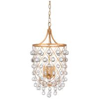 Wildwood 67197 Bubbles 4 Light 15 inch Antique Gold Leaf and Clear Chandelier Ceiling Light photo thumbnail