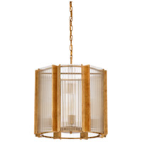 Wildwood 67202 Theo 8 Light 21 inch Antique Gold Leaf and Clear Fluted Chandelier Ceiling Light