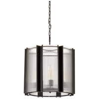 67203 Wildwood Wildwood 8 Light 21 inch Satin Black and Clear Fluted Chandelier Ceiling Light