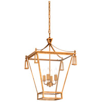 Pagoda 4 Light 17 inch Antique Gold Leaf and Clear Lantern Pendant Ceiling Light