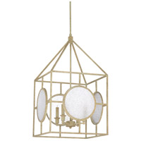 Wildwood 67222 Duxberry 4 Light 17 inch Textured White and Clear with Crackle Lantern Pendant Ceiling Light