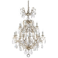 67238 Wildwood Wildwood 12 Light 34 inch Antique Silver Leaf and Clear Chandelier Ceiling Light Large