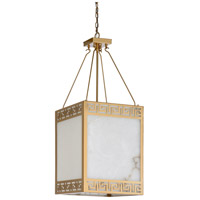Wildwood 67243 Athens 4 Light 16 inch Antique Brass and Natural White Chandelier Ceiling Light