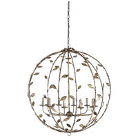 Wildwood 67246 Charlotte 10 Light 41 inch Rustic Silver Leaf Chandelier Ceiling Light