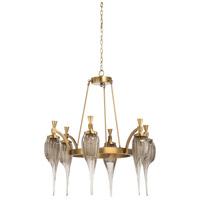 67292 Wildwood Wildwood 6 Light 33 inch Antique Brass/Coffee Tint Chandelier Ceiling Light