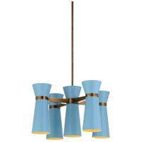 67324 Wildwood Wildwood 5 Light 29 inch Carolina Blue/Bronze Chandelier Ceiling Light
