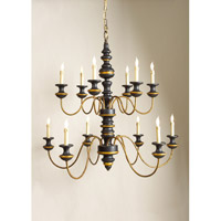 CM 12 Light 39 inch Black And Gold Chandelier Ceiling Light