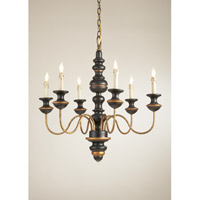 CM 6 Light 26 inch Black And Gold Chandelier Ceiling Light
