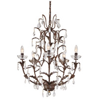 Wildwood Lamps Leaves And Crystal Chandelier in Art Glazed Iron 7722