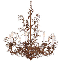WM 8 Light Iron And Brass With Lead Crystal Chandelier Ceiling Light