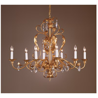 Wildwood Lamps Gold And Crystal Chandelier in Iron With Metal Leaf And Lead Crystal 7725 photo thumbnail