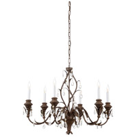 WM 6 Light Old Wood And Iron Chandelier Ceiling Light
