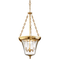 Inverted 3 Light 20 inch Antique Brass Lantern Ceiling Light