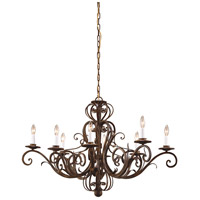 WM 8 Light 44 inch Hand Wrought Iron- Worn Iron Chandelier Ceiling Light