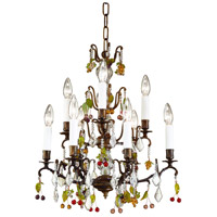 Bronze 9 Light 18 inch Oxidized Brass With Crystal Column Chandelier Ceiling Light