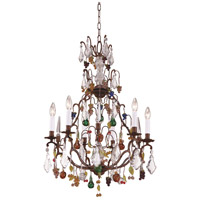 WM 6 Light 23 inch Bronze With Muraon Glass Chandelier Ceiling Light