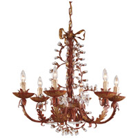 WM 6 Light 28 inch Hand Colored With Crystal Buds Chandelier Ceiling Light