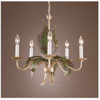 Wildwood Lamps Fern Chandelier in Hand Colored Iron 7755