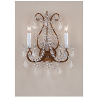 Wildwood Lamps Crystals-Crystals Sconce in Antique Gold With Crystal Bobesche 7788