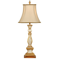 Old Worn 36 inch 100 watt Antiqued Old White With Gold Table Lamp Portable Light