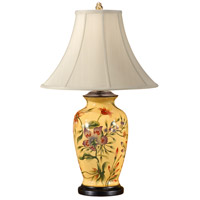 Wildwood Lamps Yellow With Flowers Table Lamp in Hand Painted Porcelain 8994