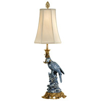 Wildwood Lamps Blue Parrot (Right) Table Lamp in Hand Painted Porcelain With French Gold 9113