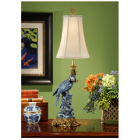 Wildwood Lamps Blue Parrot (Left) Table Lamp in Hand Painted Porcelain With French Gold 9114