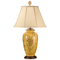 Wildwood Lamps Flowers On Yellow Table Lamp in Hand Painted Porcelain With Wood 9242 photo thumbnail