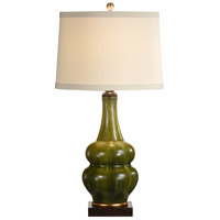 Flowing Green 34 inch 100 watt Hand Decorated Porcelain Table Lamp Portable Light