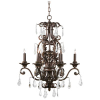 WM 6 Light 20 inch Iron With Crystal Drops Chandelier Ceiling Light