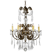 Signature 6 Light Iron With Crystal Drops Chandelier Ceiling Light