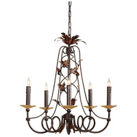 WM 5 Light 22 inch Hand Painted With Amber Bobesche Chandelier Ceiling Light