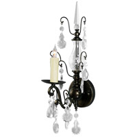 Wildwood Lamps Signature Sconce in Light Bronze Finish Iron And Crystal 9376