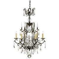 Signature 6 Light 24 inch Bronzed Iron With Crystal Drops Chandelier Ceiling Light