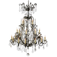 Wildwood Lamps Signature Chandelier in Bronzed Iron With Crystal Drops 9382