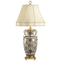 Mighty Fishtail 34 inch 100 watt Hand Painted Porcelain Table Lamp Portable Light