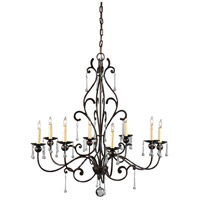 WM 8 Light 34 inch Old World Iron With Lead Crystal Chandelier Ceiling Light