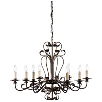 WM 8 Light 27 inch Vengeance Rust Chandelier Ceiling Light